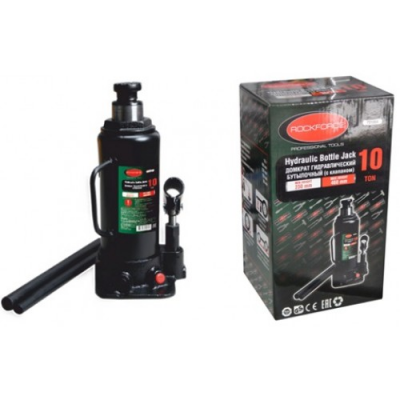 Домкрат бутылочный 10т с клапаном+доп.ремкомплект Rock Force RF-T91004